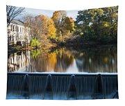 Newton Upper Falls Autumn Waterfall Reflection Tapestry