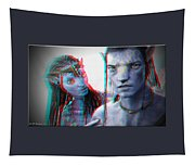 Neytiri And Jake Sully - Use Red-cyan 3d Glasses Tapestry