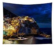 Night Comes To Manarola Tapestry