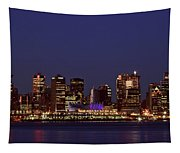 Night Lights Of Downtown Vancouver Tapestry