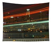 Night Shot Of Downtown Los Angeles Skyline From 6th St. Bridge Tapestry