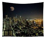 Nightlights Seattle Washington  Tapestry