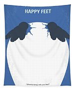 No744 My Happy Feet Minimal Movie Poster Tapestry