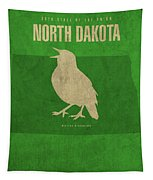 North Dakota State Facts Minimalist Movie Poster Art Tapestry