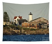 Nubble Light House Beach View Tapestry
