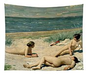Nude Bathers On The Beach Tapestry