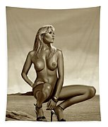 Nude Blond Beauty Sepia Tapestry