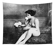 Nude Drinking Tea, 19th Ct Tapestry