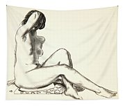 Nude Study, Girl Sitting On A Flowered Cushion Tapestry