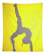 Nude Yoga Girl Gray Tapestry