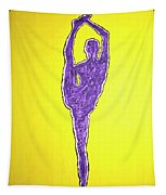 Nude Yoga Girl Violet Tapestry