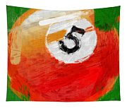 Number Five Billiards Ball Abstract Tapestry