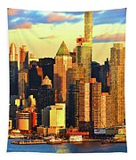 Nyc West Side In Gold And Blue  Tapestry