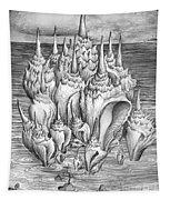 Ocean Fantasy. Huge Shells Tapestry
