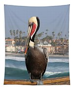 Oceanside Pelican  Tapestry by Christy Pooschke