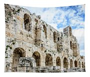 Odeon Stone Wall - Athens Greece Tapestry