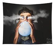 Office Party Nerd Blowing Up Birthday Balloon Tapestry
