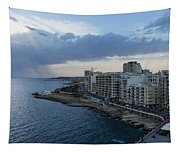 Offshore Rainstorm - Sliema's Famous Promenade Waking Up Tapestry