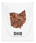Ohio Map Art Abstract In Brown Tapestry
