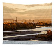 Oil Refinery At Sunset Tapestry