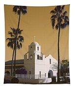 Old Adobe Mission Poster Tapestry