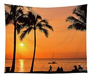Old Airport Beach Sunset Tapestry