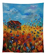 Old Barn And Wild Flowers Tapestry