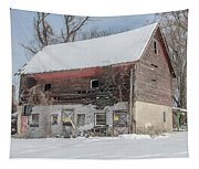 Old Barn In Upper Roxborough In The Snow Tapestry