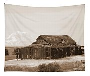 Old Barn With Mount Adams In Sepia Tapestry