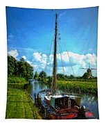 Old Boat In Holland Tapestry
