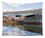 Old Boats Along The Exeter Canal Tapestry