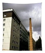 Old Brick Chimney Amongst Modern Office Buildings Near The Railway Station Perugia Umbria Italy Tapestry