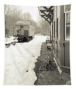 Old Caboose At Period Train Depot Winter Tapestry
