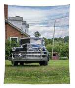 Old Car In Front Of House Tapestry