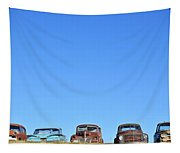 Old Cars In A Field Tapestry