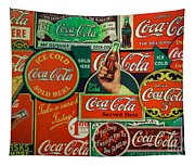 Old Coca-cola Sign Collage Tapestry