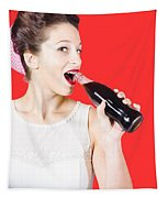Old-fashion Pop Art Girl Drinking From Soda Bottle Tapestry