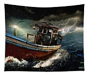Old Fishing Boat In A Storm  L A Tapestry