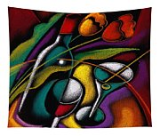 Wine And Flowers Tapestry