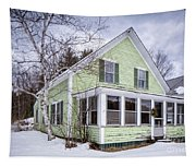 Old Green And White New Englander Home Tapestry