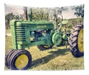 Old Green Vintage Tractor Watercolor Tapestry
