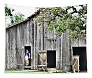 Old Grey Barn With Vistors Tapestry