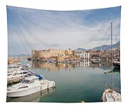 Old Harbour Of  Kyrenia, In Cyprus Tapestry