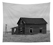 Old House And Windmill North Dakota  Tapestry