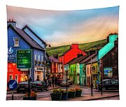 Old Irish Town The Dingle Peninsula At Sunset Tapestry
