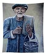 Old Man With His Stones Tapestry
