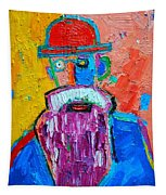 Old Man With Red Bowler Hat Tapestry