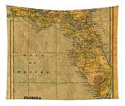 Old Map Of Florida Vintage Circa 1893 On Worn Distressed Parchment Tapestry
