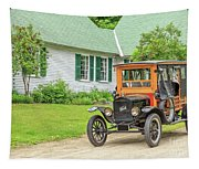 Old Model T Ford In Front Of House Tapestry