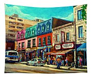 Old Montreal Schwartzs Deli Plateau Montreal City Scenes Tapestry